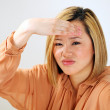Asian woman headache stress — Stock Photo