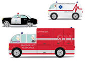 Emergency cars set. — Stock Vector