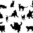 Stock Vector: Cat silhouettes set.