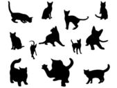Cat silhouettes set. — Stockvektor