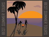 Tourists, dancing around the campfire on a desert island. — Stock Vector