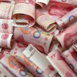 Chinese money 100 rmb background - old money — Stock Photo