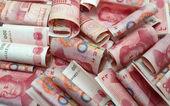 Čínské peníze 100 rmb pozadí - staré peníze — Stock fotografie
