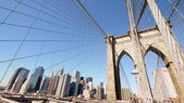 Brooklyn Bridge with the blue sky — Stock Photo
