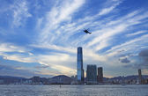 The tall building around the victoria harbour — Stock Photo