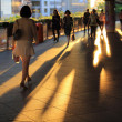 Urban scenes: the shadow of walking pedestrian — Stock Photo