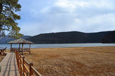 A chinese Arbour near the lakeside in pudacuo national park at Shangri La Country, Yunnnan province — Stock Photo