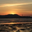 Silhouette of Ha Pak Nai wetland tidal wave, the oyster field scenes in hong kong — Stock Photo #48282089