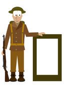 American soldier shows a signs — Stock Vector