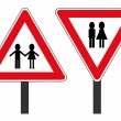 Vector de stock : Two road signs with personages