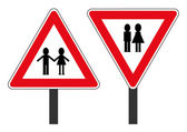 Two road signs with personages — Stock Vector