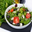 Stock Photo: Salads with bottle of oil