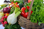 Vegetables and basket — Stock Photo