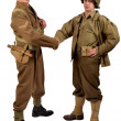 An English soldier and an American soldier shake hands — Stock Photo #41568105