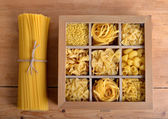 Box of wood with pasta  — Stock Photo