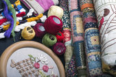 Quilting equipment and fabrics. — Stock Photo