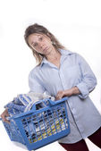 Young woman dreading doing her ironing — Stock Photo