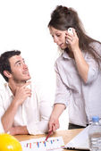 Young couple in the office — Stock Photo