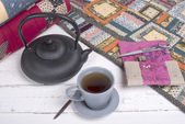 Tea break during the quilting — Stock Photo