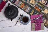 Tea break during the quilting — Stock Photo