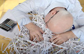 Businessman asleep at his office — Stock Photo