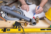 Plumbing do-it-yourself with different tools — Stock Photo