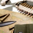 Map of Normandy placed on the hood of military vehicle — Stock Photo #46080935