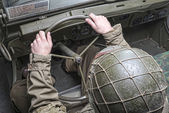 Driver of a military vehicle of World War II — Stock Photo