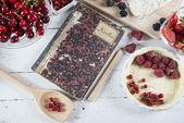 Kookboek met rode vruchten — Stockfoto