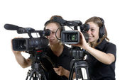 Due giovani donne con videocamere — Foto Stock