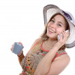 Pretty woman on the phone and drinking cup of tea — Foto de Stock   #48379913