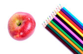 School supplies with an apple — Foto de Stock