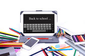 Back to school written on a digital tablet — Foto de Stock