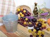Red and yellow plums on a wooden table — Stock Photo