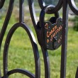 Padlock Suite on the openwork lattice — Stock Photo