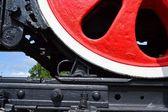 Wheel of an old steam locomotive — Stock Photo