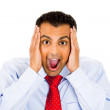 Closeup portrait of wild, goofy, crazy, funny, shocked man's face — Stock Photo #29611223