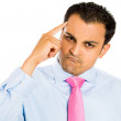 Closeup portrait of Upset, angry handsome man with finger on his head — Stock Photo