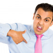 Guy pointing to himself angry — Stock Photo