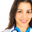Close-up portrait of happy, smiling female doctor with copy space — Stock Photo
