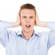 Closeup portrait of man covering his ears, headache from loud noise — Stock Photo #29617645