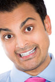 Closeup portrait of stupid, goofy, idiot, moron — Stock Photo