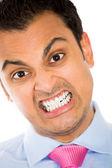 Closeup portrait of angry idiot, nerd, geek — Stock Photo