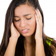 Young professional woman stressed and tired with headache — Stock Photo