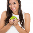 Close-up of a healthy happy woman with apple — Stock Photo