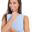 Portrait of young beautiful female professional business woman looking at camera smiling happy — Foto de Stock