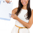 A close-up, cropped image of a businesswoman, student or secretary offering you to sign a blank document — Stock Photo