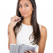 Thinking businesswoman portrait cutout — Stock Photo