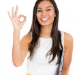 Businesswoman showing okay hand sign — Stok fotoğraf