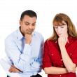 A close-up portrait of married couple or business partners very thoughtful, sad going through a stress — Stock Photo